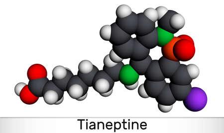 Tianeptine molecule. It is tricyclic antidepressant TCA. Molecular model. 3D rendering. 3D illustration Imagens