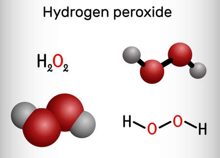 Hydrogen Peroxide, perhydrol, H2O2 molecule. It is peroxide, oxidizing agent with disinfectant, antiviral, anti-bacterial activities. Structural chemical formula, molecule model. Vector illustration Ilustração