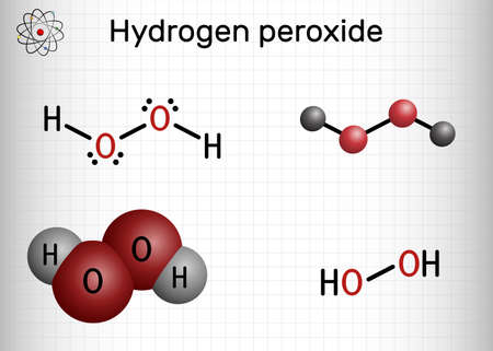 Hydrogen Peroxide, perhydrol, H2O2 molecule. It is peroxide, oxidizing agent with disinfectant, antiviral, anti-bacterial activities. Sheet of paper in a cage. Vector illustration