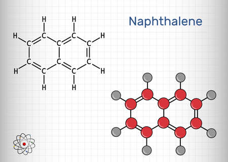 Naphthalene molecule. It is an aromatic hydrocarbon comprising two fused benzene rings. Skeletal chemical formula. Vector illustration