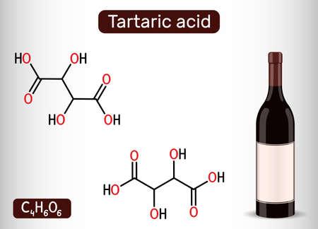 Tartaric acid molecule and bottle of wine. It is antioxidant E334, occurs in grapes, bananas, tamarinds, citrus. Skeletal chemical formula. Vector illustration