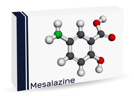 Mesalazine, mesalamine, 5-aminosalicylic acid molecule. It is a non-steroidal anti-inflammatory drug, used for treatment of ulcerative colitis, Crohn's disease. Paper packaging for drugs. Molecular model. 3D rendering. 3D illustration Imagens