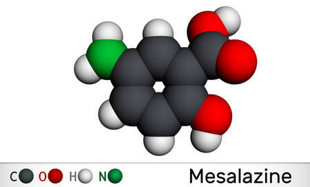 Mesalazine, mesalamine, 5-aminosalicylic acid molecule. It is a non-steroidal anti-inflammatory drug, used for treatment of ulcerative colitis, Crohn's disease. Molecular model. 3D rendering. 3D illustration