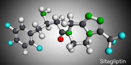 Sitagliptin anti-diabetic medication drug molecule. It is trifluorobenzene and triazolopyrazine with hypoglycemic activity. Molecular model. 3D rendering. 3D illustration