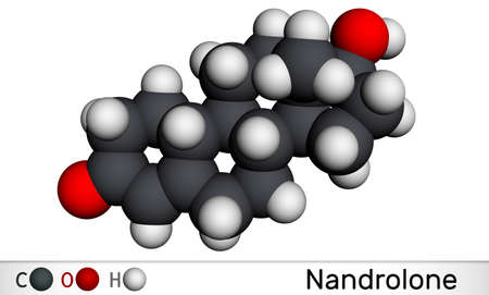 Nandrolone, 19-Nortestosterone, nortestosterone molecule. It is androgen, synthetic, anabolic steroid AAS, analog of testosterone. Molecular model. 3D rendering. 3D illustration