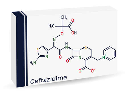 Ceftazidime molecule. It is cephalosporin, semisynthetic, antibacterial, antibiotic derived from cephaloridine. Paper packaging for drugs. Vector illustration
