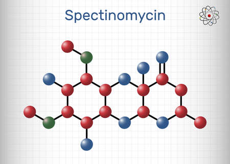 Spectinomycin molecule. It is pyranobenzodioxin, aminocyclitol aminoglycoside antibiotic. Used for the treatment of gonorrhea. Sheet of paper in a cage. Vector illustration