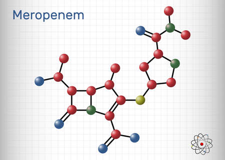 Meropenem molecule. It is broad-spectrum carbapenem antibiotic. Sheet of paper in a cage. Vector illustration