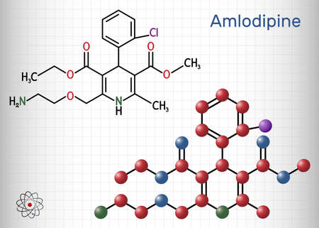 Amlodipine molecule. It is vasodilator, antihypertensive drug group of dihydropyridine calcium channel blockers. Used in the treatment of high blood pressure, angina. Sheet of paper in a cage. Vector illustration Vector Illustration