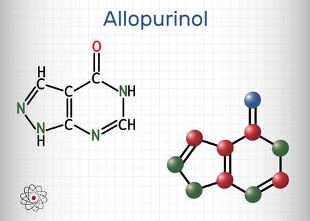 Allopurinol molecule. Drug is xanthine oxidase inhibitor, used to decrease high blood uric acid levels. Sheet of paper in a cage. Vector illustration Vector Illustration