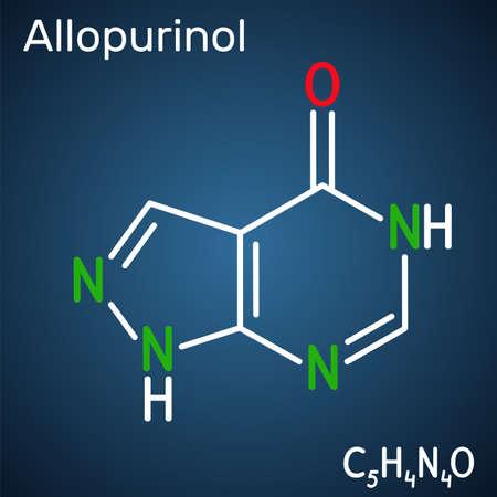 Allopurinol molecule. Drug is xanthine oxidase inhibitor, used to decrease high blood uric acid levels. Structural chemical formula on the dark blue background. Vector illustration