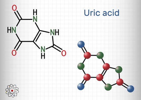 Uric acid molecule. It is heterocyclic compound, crystalline product of protein metabolism, found in the blood and urine. Sheet of paper in a cage. Vector illustration