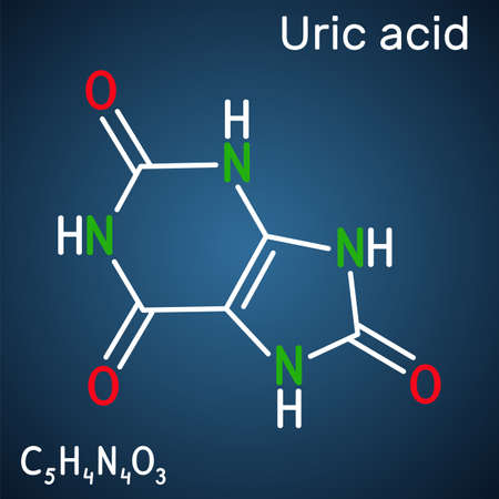 Uric acid molecule. It is heterocyclic compound, crystalline product of protein metabolism, found in the blood and urine. Structural chemical formula on the dark blue background. Vector illustration
