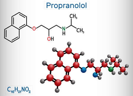 Propranolol molecule. It is synthetic, nonselective beta blocker, used to treat for hypertension. Structural chemical formula and molecule model. Vector illustration