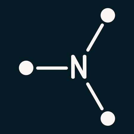 Trimethylamine, TMA molecule. It is amine, methylamine, synthesized by microbial enzymes in gut with involvement of dietary components. Skeletal chemical formula on the dark blue background. Illustration Stock fotó