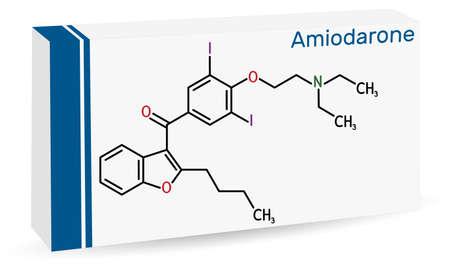 Amiodarone molecule. It is antiarrhythmic, vasodilatory, cardiovascular drug. Skeletal chemical formula. Paper packaging for drugs. Vector illustration