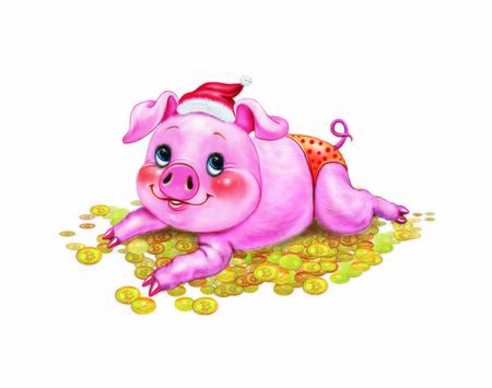 a pig lying on a pile of money, a cartoon animal on a mountain of gold, bitcoin and etherium, an isolated character on a white background