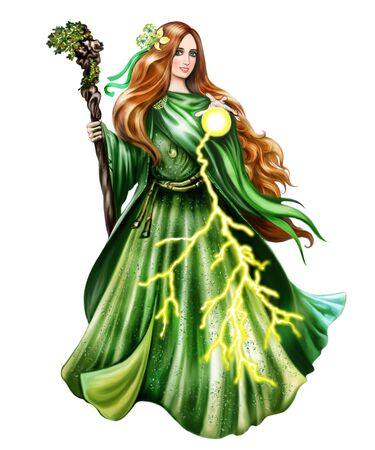 beautiful witch throws a zipper, redhead Celtic woman in a green dress, sorceress with a fireball, nature magic, isolated character on a white background Standard-Bild