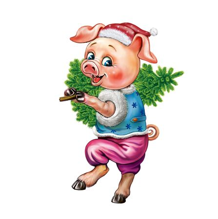 funny pig with a Christmas tree, a cartoon pig celebrating the New Year, a Christmas greeting card, an isolated character on a white background
