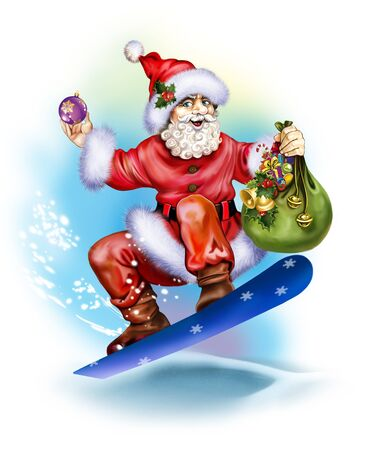 Santa Claus on a skateboard with a bag of gifts, a funny greeting card with Merry Christmas and a Happy New Year, an isolated character