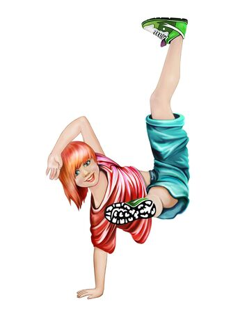 beautiful teenage girl dancing hip-hop and breakdance, paper doll, isolated character on a white background Фото со стока