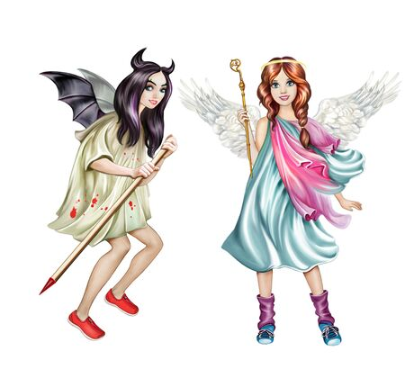 angel and demon, concept of good and evil, paper dolls, teenage girls, cartoon characters isolated on white background