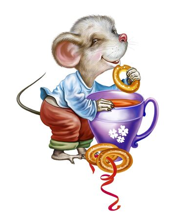 cute little mouse with a cup of tea and a bun, funny cartoon animal, isolated character on a white background