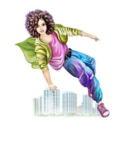 young sporty woman outdoors. the girl is engaged in parkour. happy teenager jumping over the city, joy flying, isolated character on a white background