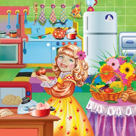 pretty girl preparing food in the kitchen, household, preparing for the holiday, kitchen utensils Imagens