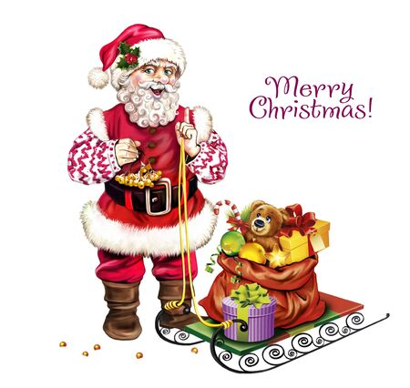 Santa Claus with sleigh and bag with gifts, Merry Christmas and Happy New Year greeting card, isolated character on white background Banco de Imagens