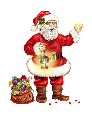 Santa Claus with a lamp and a star in his hand, a bag with gifts, a greeting card with a Christmas and a Happy New Year, an isolated picture on a white background Banco de Imagens