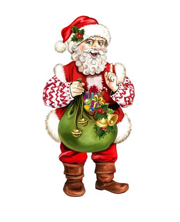 cheerful Santa Claus with bag of gifts, cartoon New Year's character, Santa costume, greeting card with Christmas and Happy New Year, isolated character on a white background