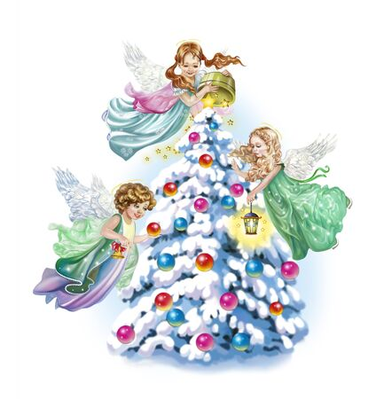 angels decorate the Christmas tree in the forest