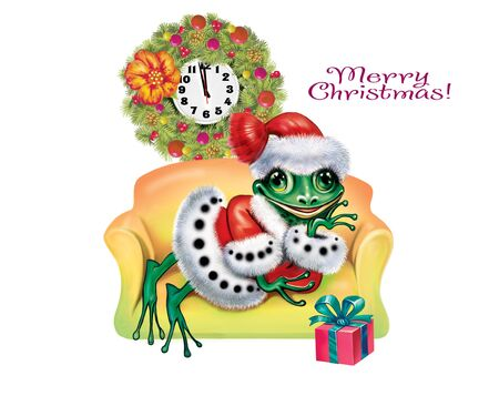 funny frog is waiting for Christmas, greeting card with a happy New Year, cartoon animal in a New Year's suit with a gift, clock and Christmas decorations, isolated character on a white background Banco de Imagens