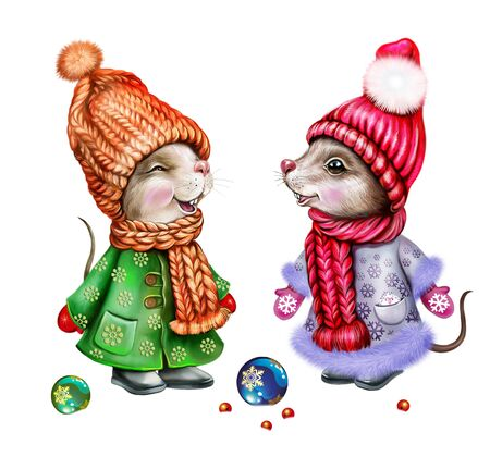 funny rats celebrate Christmas and New Year, mice in hats, scarves and mittens, cartoon animals in winter clothes, isolated characters on a white background