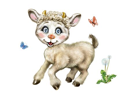 funny kid, cartoon little goat jumps in the grass, isolated character on a white background