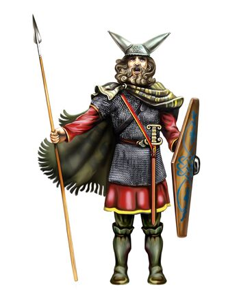 Celtic warrior in helmet with horns, sword and spear, isolated character on white background Zdjęcie Seryjne
