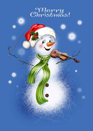 a funny snowman in a hat and scarf plays the violin, snowflakes fall, a greeting card with Christmas and a Happy New Year.