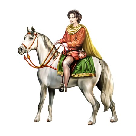 beautiful prince on a white horse, fairy-tale character, hero of a legend, groom of a princess, isolated character on a white background Stok Fotoğraf
