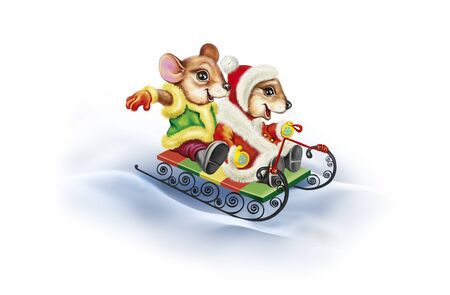 funny mouse in clothes ride on a sled, animals play in the snow, New Year celebrations, isolated characters on a white background Banco de Imagens