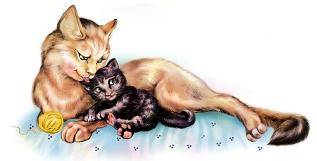 cat lies with a kitten and licks his tongue, cartoon animals mother with child, isolated characters on white background