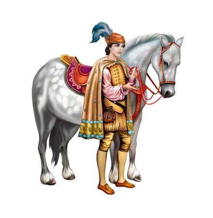 beautiful prince and white horse, fairy-tale character, legend hero, groom princess, isolated character on white background