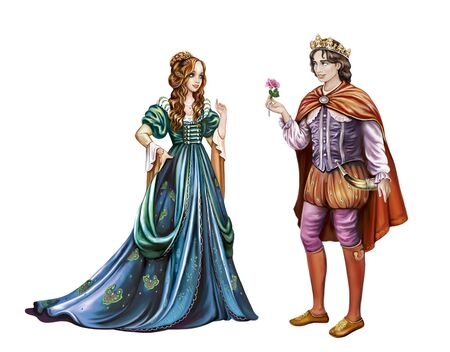 a prince is in love with a princess, a young man gives a rose to a girl, heroes of a medieval romantic legend, a fairy tale with a happy ending, isolated characters on a white background Stok Fotoğraf