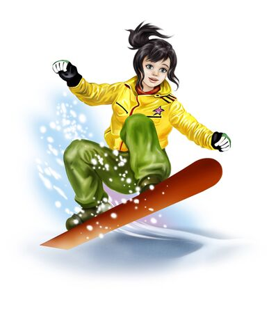 beautiful girl riding a snowboard in the mountains Фото со стока