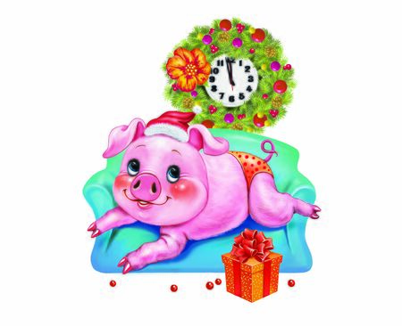 funny pig with a Santa Claus hat lying on the couch, cartoon piglet - a symbol of the new year, gifts and decorations, a greeting card with a Christmas, an isolated character on a white background