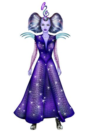 beautiful alien girl, character for computer game, woman from another galaxy, creature from parallel reality, isolated image on white background