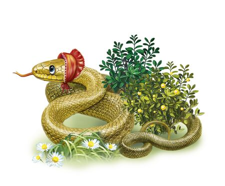 funny cartoon snake in a cap lies in the grass and flowers, isolated character on a white background