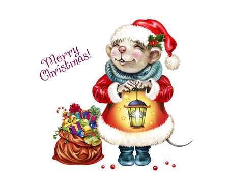 Rat dressed as Santa Claus with a bag of gifts and a lamp in his hand, symbol of 2020, the Chinese horoscope, greeting card with Merry Christmas and Happy New Year, isolated character on white background Banco de Imagens