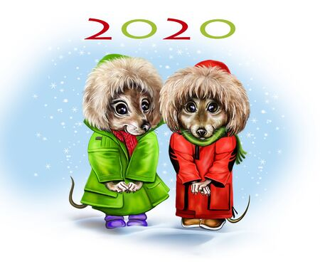 two funny mice in bright jackets with hoods stand in a snowdrift, the rat is a symbol of the year, isolated characters on a white background