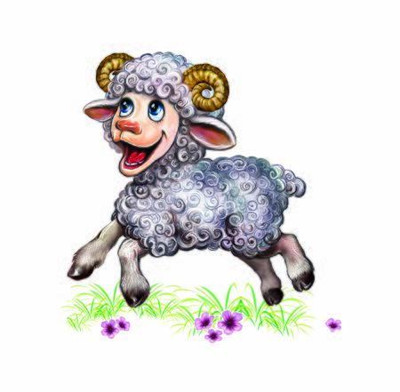 funny lamb jumping on the grass, funny cartoon ram in the meadow, isolated character on a white background Zdjęcie Seryjne